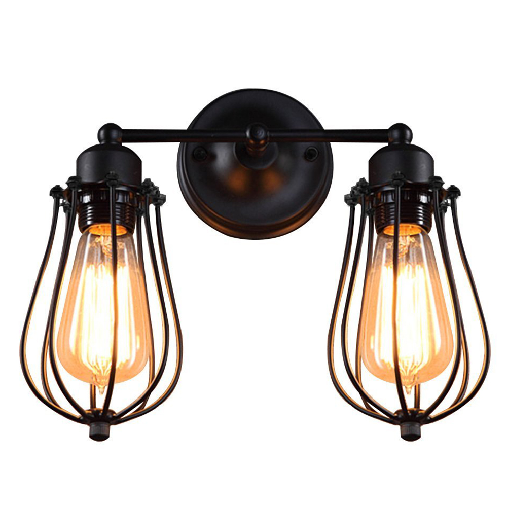BIFI Retro Industrial Edison Simplicity Antique Wall Lamp with Metal Grapefruit shade Black