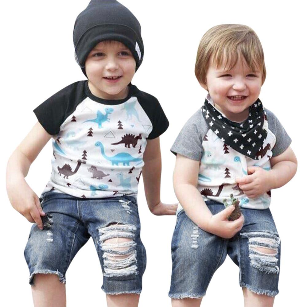 Toddler Baby Girls Boys Cartoon Dinosaur Tops T-Shirt Denim Pants Outfits Set sports suit for girl children clothing
