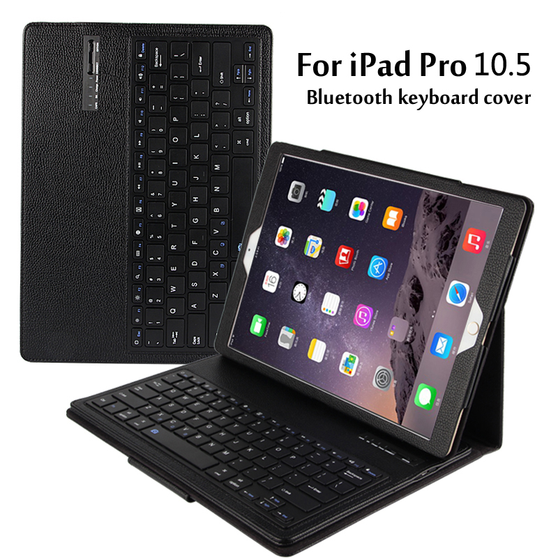 For iPad Pro 10.5 Magnetically Detachable ABS Bluetooth Keyboard Portfolio Folio PU Leather Case Cover + Stylus Pen +Film for ipad pro 12 9 keyboard case magnetic detachable wireless bluetooth keyboard cover folio pu leather case for ipad 12 9 cover