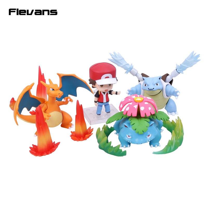 ФОТО Poke Monster Trainer Red : Champion Ver. Ash Ketchum & Charizard & Blastoise & Venusaur PVC Action Figure Toy