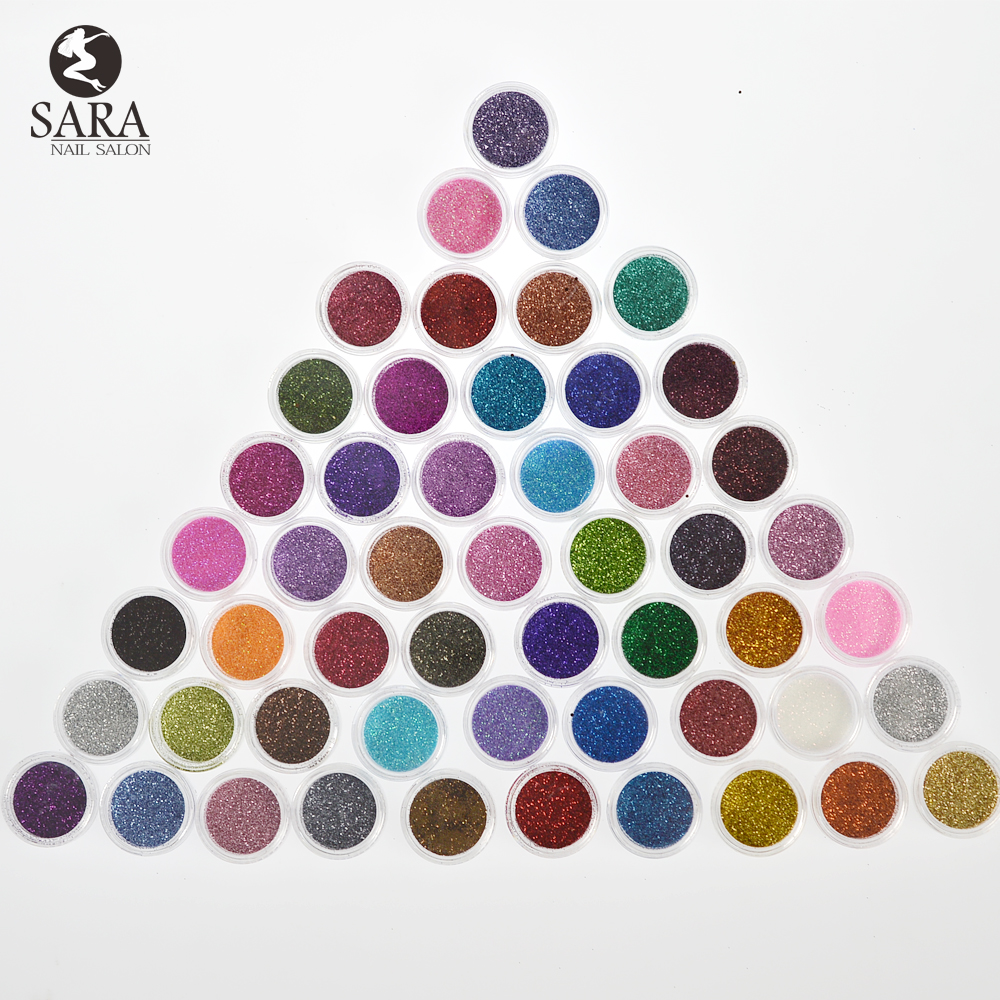 Nail Salon Fashion 60 Colors Mix UV Gel Nail Art Glitter Dust Powder For UV GEL Acrylic Powder Nail Art Decoration SANJ151