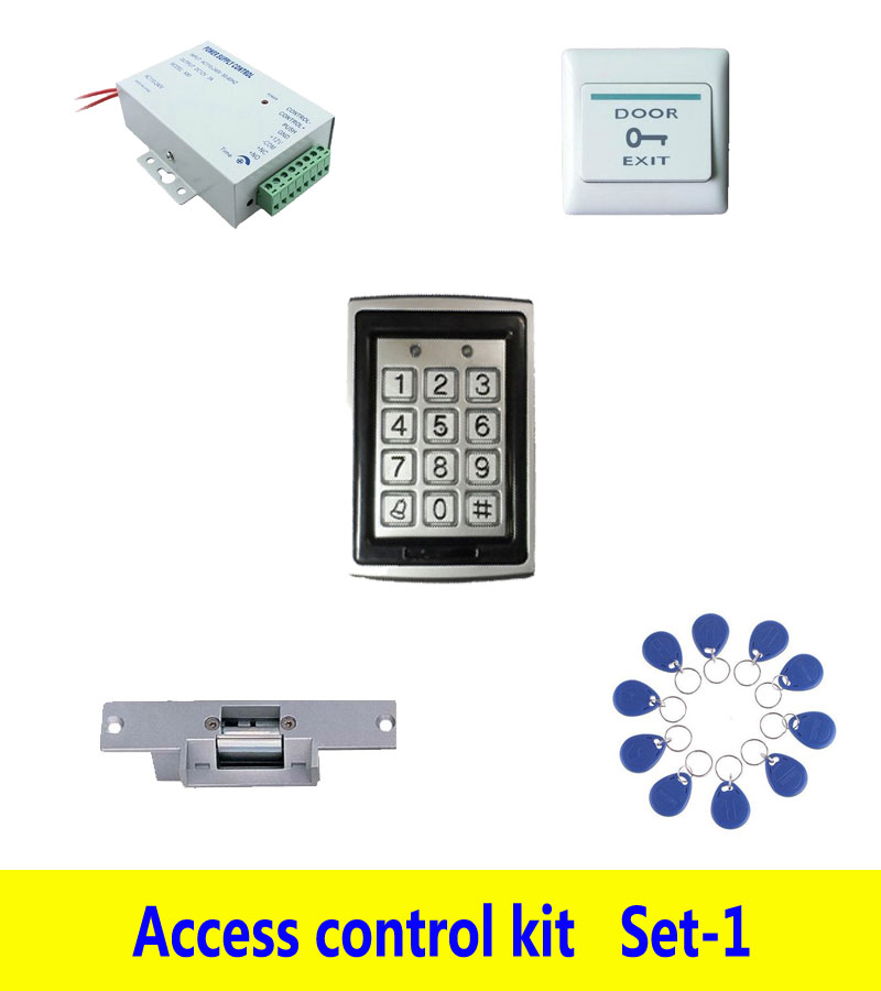 Access control kit,metal standalone access control+ power+ strike lock +exit button+ 10 keyfob ID tags,sn:Tset-1 control
