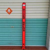 180cm 6ft Long Orange Scuba Diving Diver Below SMB Surface Marker Buoy Safety Sausage Signal Tube & Reflective Tape