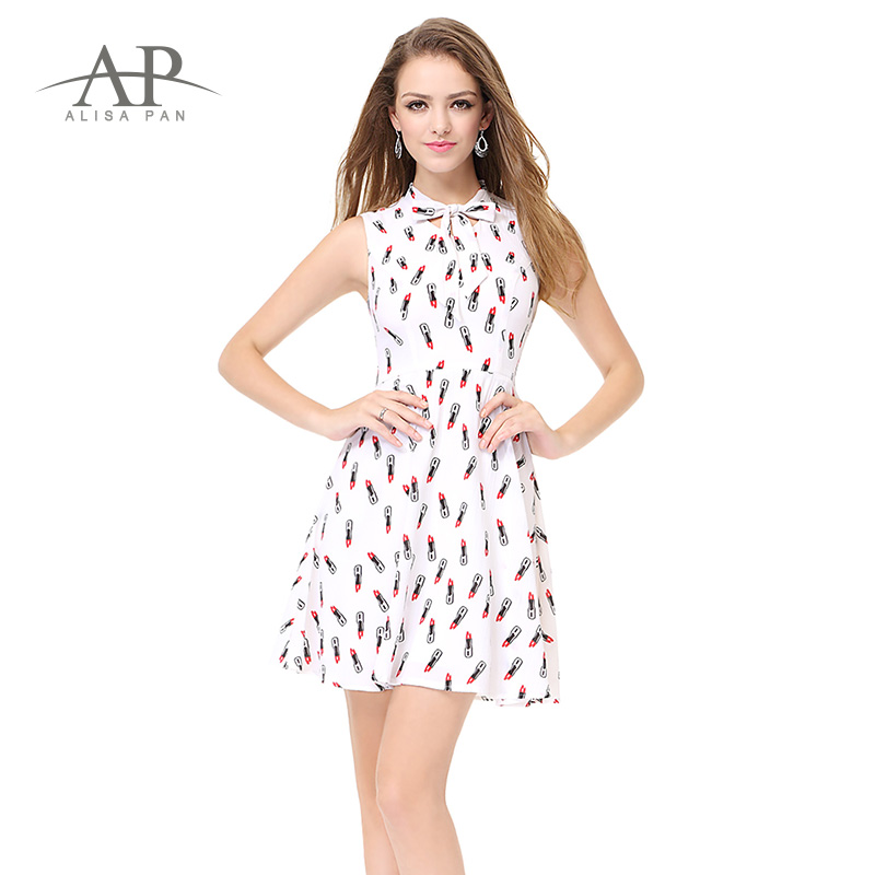 16c65fe9425 Ever Pretty Women s Summer Fashion Lipstick Pattern White Empire Comfy Dress  Sleeveness Cute Mini Chic Casual Dresses AS05469WH -in Dresses from Women s  ...