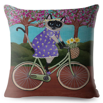 Cartoon Bicycle Cat Cushion Cover