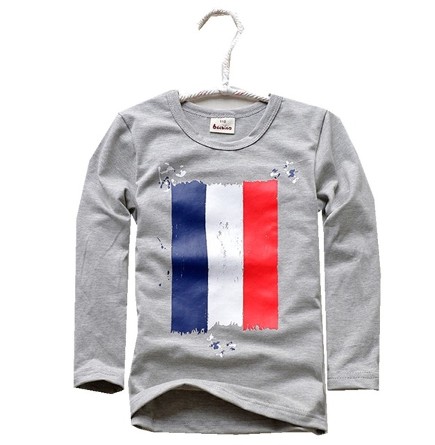 Boys Wear Long Sleeve Children Roundneck Shirt Thin Kids Spring Clothing Grey