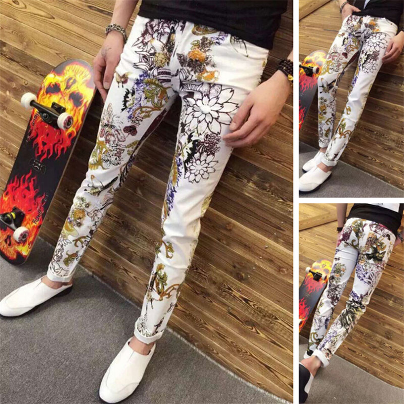 ФОТО Men's Fashion men in tide male printed jeans color pants feet jeans men custom made on denim overalls men of Plus Size 28-40