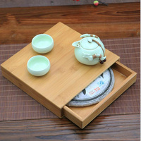 Handmade Quality Pu Er Tea Box Gift Packaging Puer Tea Box Health Care Eco friendly Tea Set Bamboo Tray Carving Wholesale