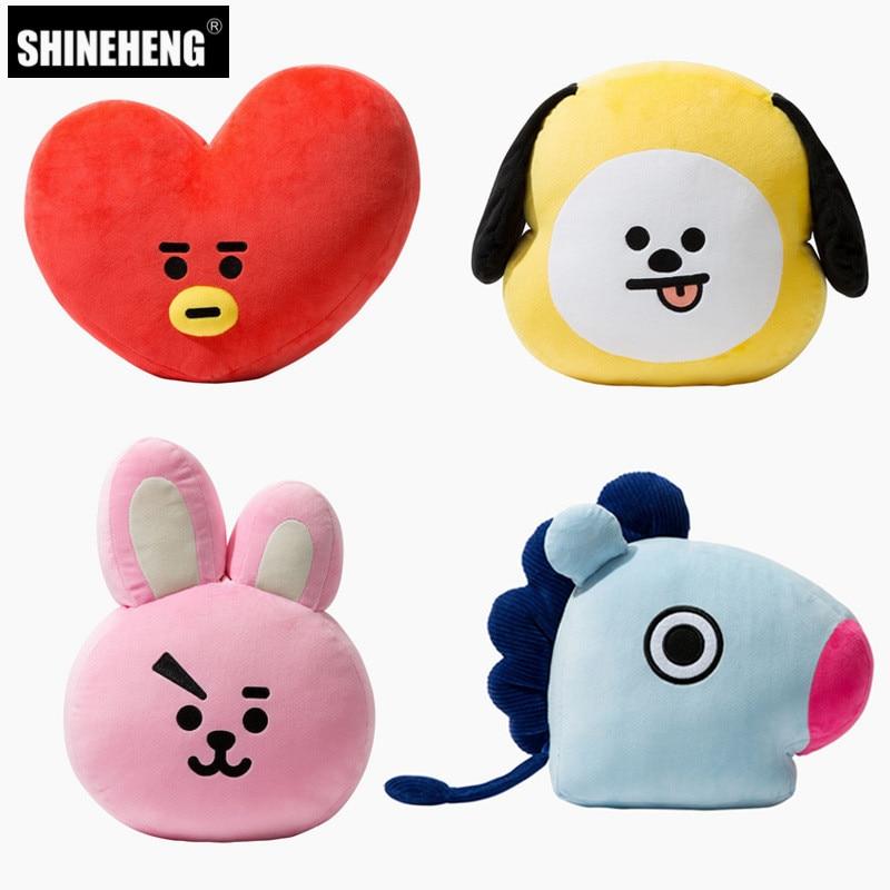 SHINEHENG Kpop Bangtan BTS Plush Pillow Toy Bt21 Warm Bolster TATA VAN COOKY CHIMMY SHOOKY KOYA RJ MANG Cushion Plush Doll