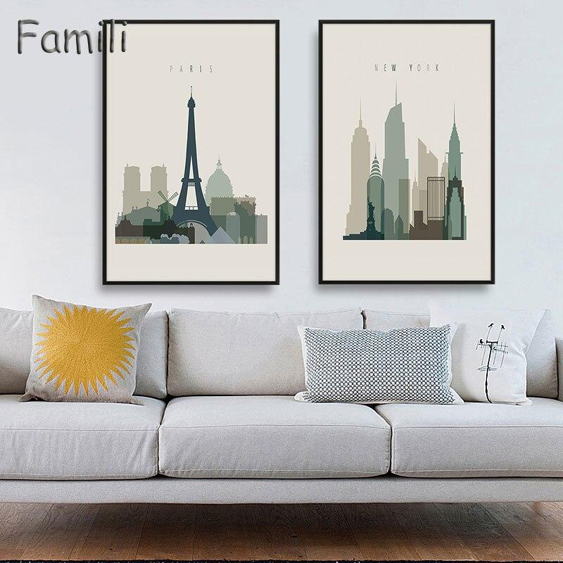 Нью-Йорк Лондон Париж Городской пейзаж Книги по искусству холст картины Книги по искусству Принт плакат изображения стену Картины Домашний... ...
