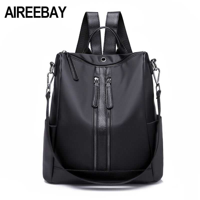 AIREEBAY Fashion Women Backpack Waterproof Nylon Backpack Lady Backpacks Female Casual Travel Bag Functional Girl School Bags цена