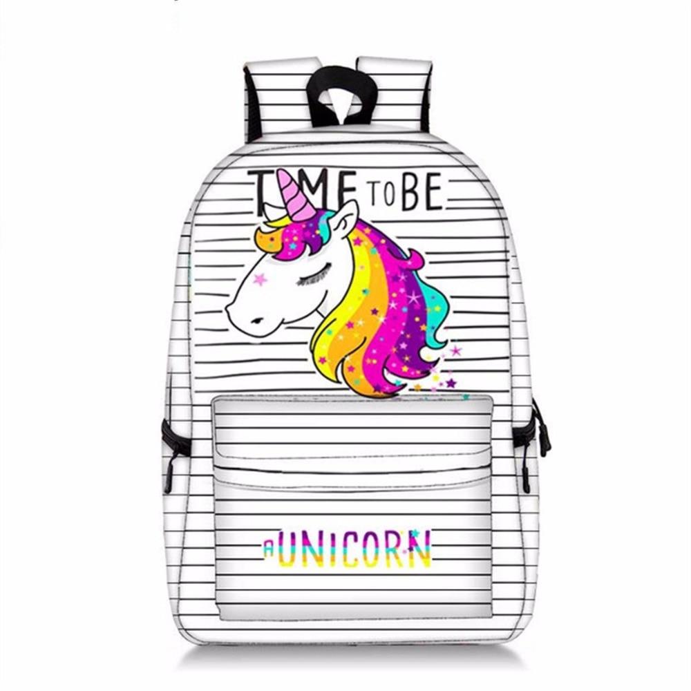 Kawaii Unicorn Backpack Bags For Adolescent Girls Laptop College Student School Bookbag Mochila Feminina Womentravel Knaspack