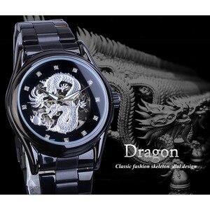 Image 3 - Forsining Drago Dargento di Scheletro Meccanico Automatico Da Polso Da Uomo Guarda Completo In Acciaio Orologio Cinturino In Acciaio Impermeabile orologi da Uomo