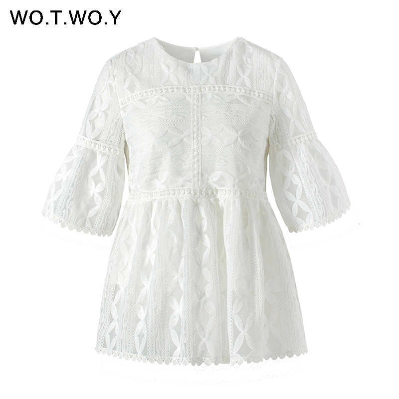 WOTWOY 2019 Witte Bloemen Kant Blouses Vrouwen Lente Casual Hollow Out Half Sleeve O-hals Tops Vrouwelijke Borduurwerk Blusas Harajuku