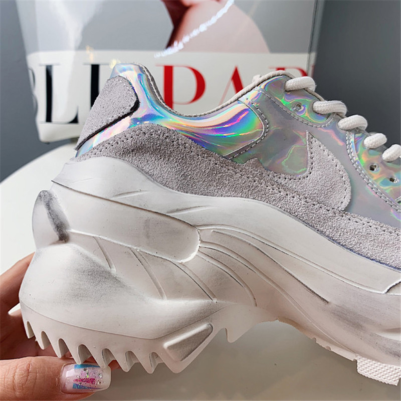 2019 Spring Autumn Shoes Women Platform Shoes Lady Lace Up Casual Pumps Creepers Harajuku Punk Sneakers Girl Female Silver Shoes (15)