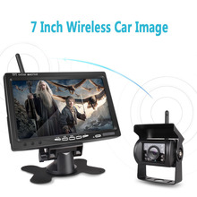 7 #8243 LCD Wireless Car Monitor HD Display Wired Reverse Night Version Camera Car Rearview Monitors for Truck with 2 Lens Auto Parts cheap LEHOOUP 800x480 Car Monitors In-Dash
