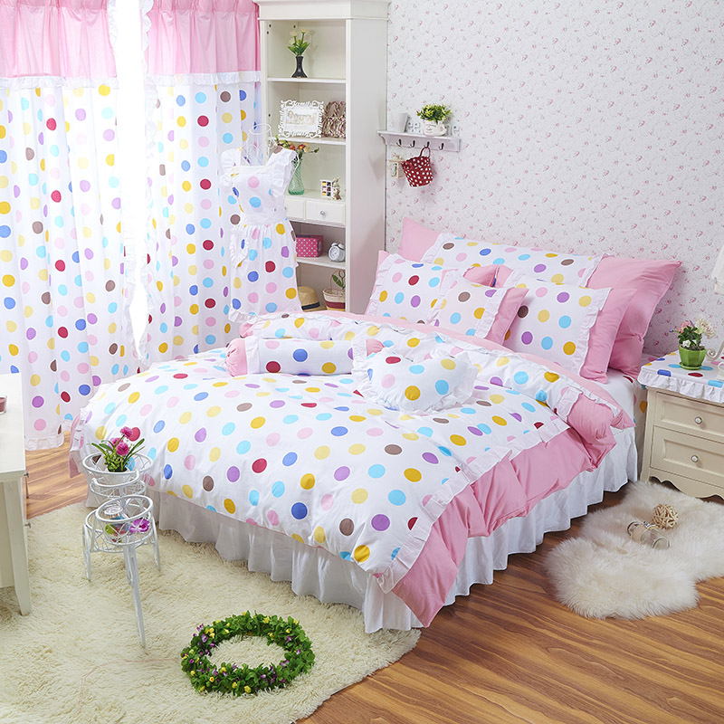 popular purple polka dot bedding buy cheap purple polka dot bedding lots from china purple polka. Black Bedroom Furniture Sets. Home Design Ideas