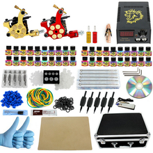 Professional Tattoo kit Great Complete Equipment Dual machine 40 color Tattoo Machine set 2 Gun Power Supply Cord Kit tool box