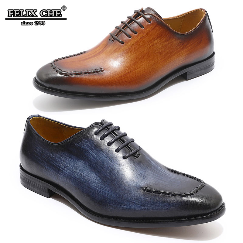 Luxury Brand Shoes Men Genuine Leather Oxfords Lace up Pointed toe Formal Shoes Work Shoes Male Fashion Men 2019 Wedding Dress in Oxfords from Shoes