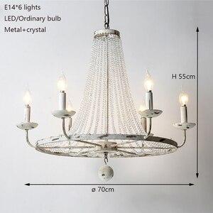 Image 3 - רטרו בציר יוקרה מדינה אמריקנית סגנון גדול LED קריסטל מנורת נברשת lustres המודרני E14 אורות למלון סלון