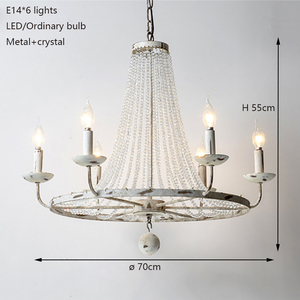Image 3 - Retro Vintage luxury American country style big LED crystal chandelier lamp lustres modern E14 lights for hotel living room