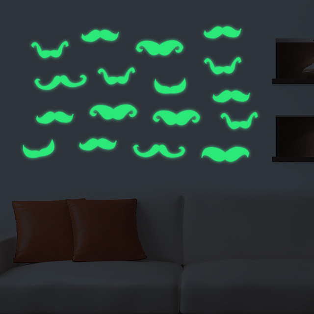 Luminous Moustache Fluorescent Wall Stickers Glow In The Dark Baby Kids  Bedroom Wallpaper Muursticker Home Decor