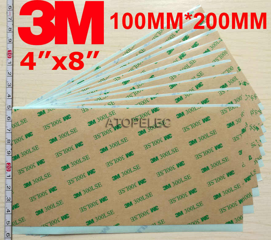 "1 PC 4 ""X 8"" 100 Mm * 200 Mm 3M 300LSE Double Sided Super Lengket Berat tugas Lembaran Perekat Cell Phone"