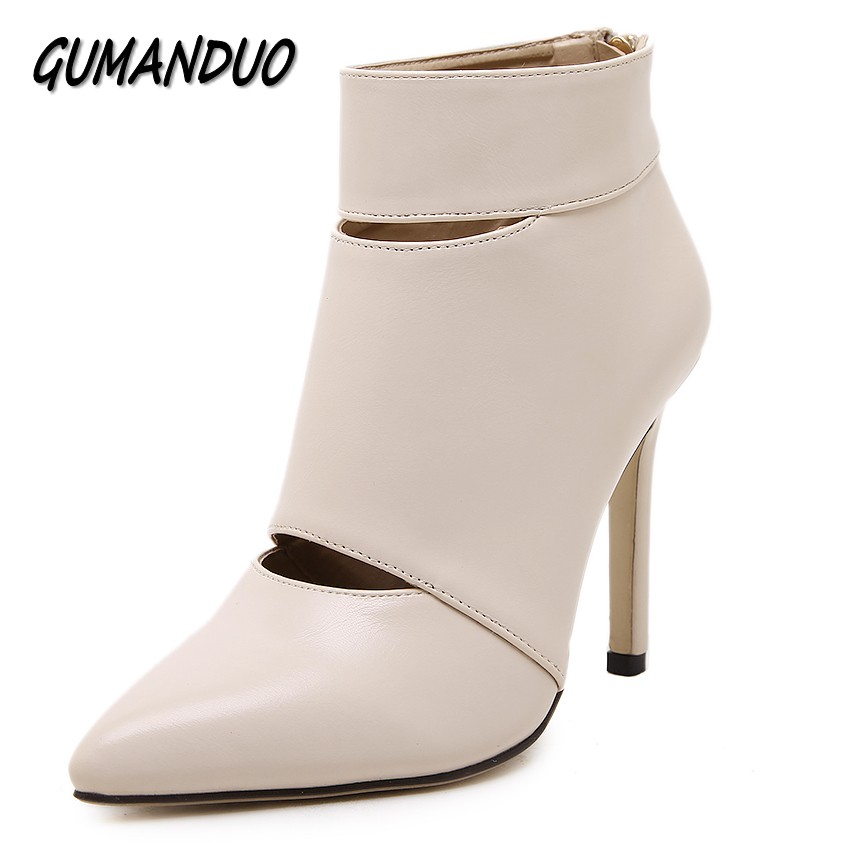 GUMANDUO new pointed toe hollow sexy women high heels shoes woman wedding party nightclub dress pumps stilettos size 35-40 sexy pointed toe high heels women pumps shoes new spring brand design ladies wedding shoes summer dress pumps size 35 42 302 1pa
