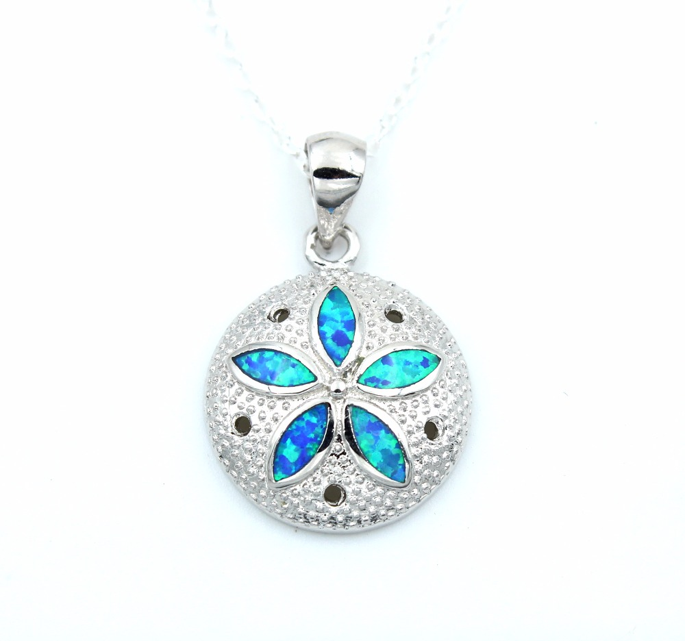 Classical Sand Dollar Blue Fire Opal Necklace-in Chain