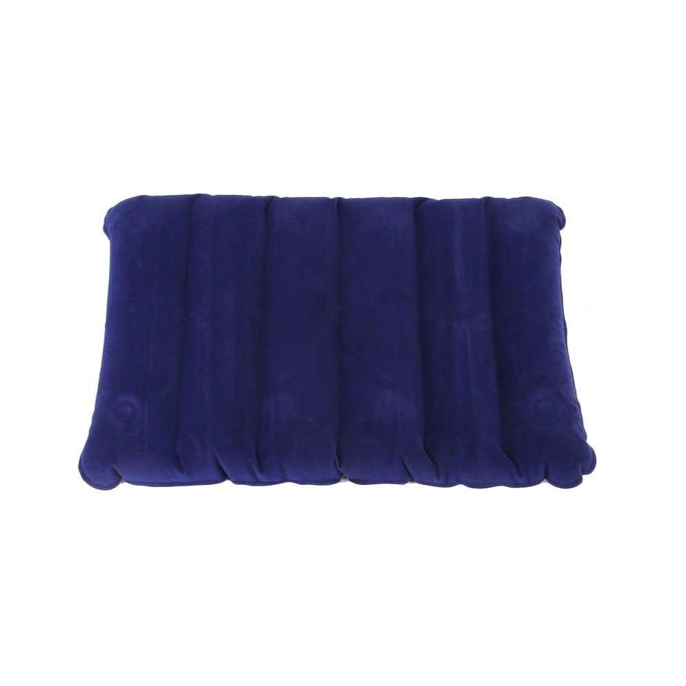 1 pcs inflatable camping pillow dark blue large inflatable camping pillow travel flocking outdoor home free