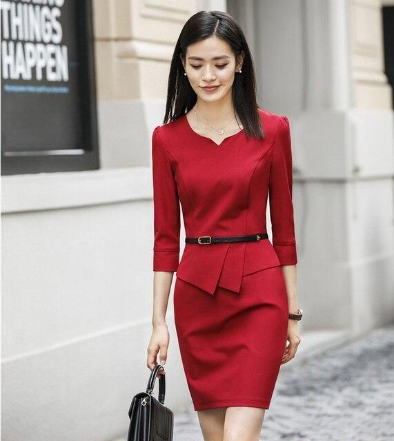 1f2fb5777a Fashion Spring Autumn Elegant Red Dress For Women Business Work Wear Dress  Uniform Styles Office Work Wear Dresses With Belt