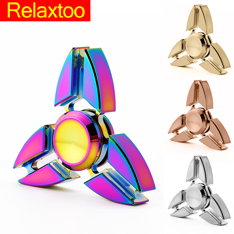 Brand Metal Tri Spinner EDC Fidget Toy Hand Spinner For Autism and ADHD Anti Stress Finger Toys 2017 Funny Fast Gyro Handspinner luminous tri fidget hand spinner light in dark edc tri spinner finger toys relieve anxiety autism adhd for child