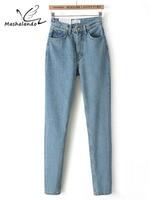 Neue 2016 Mode Vintage Damen Retro Hohe Taille Jeans Frau Marke Slim Bleistift Denim Hosen Frauen Jeans Hosen Plus Größe