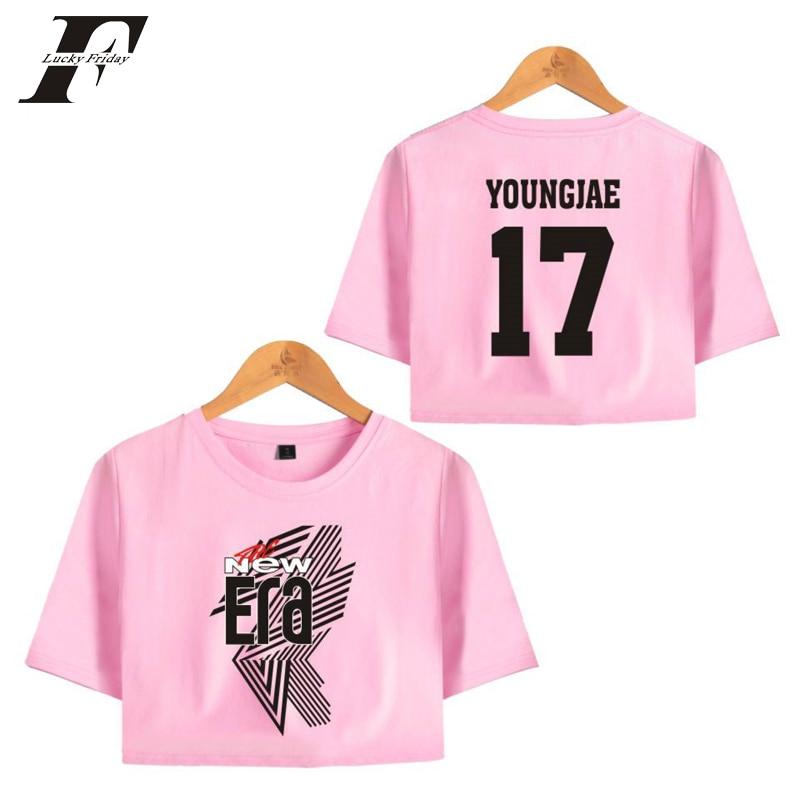 LUCKYFRIDAYF 2018 GOT7 FM The New Era Summer BAMBAM 02 Idols Sexy Bare Midriff Top Women Hot Sale T-shirts Sexy Short Sleeve