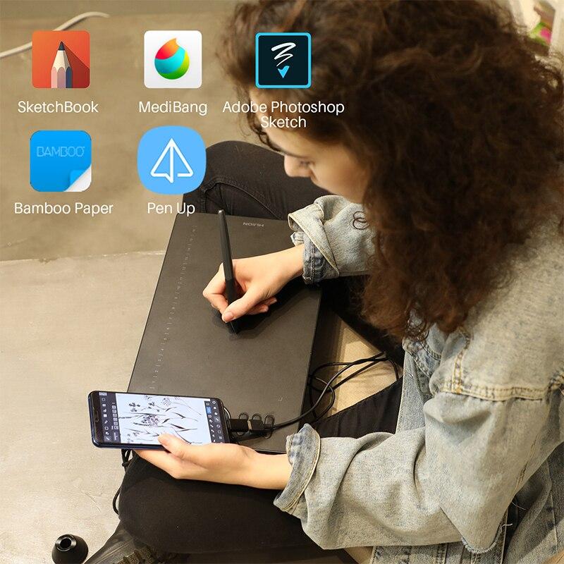 HUION HS610 tablettes graphiques stylo numérique tablette téléphone dessin tablette avec inclinaison OTG stylet sans batterie pour Android Windows macOS - 3