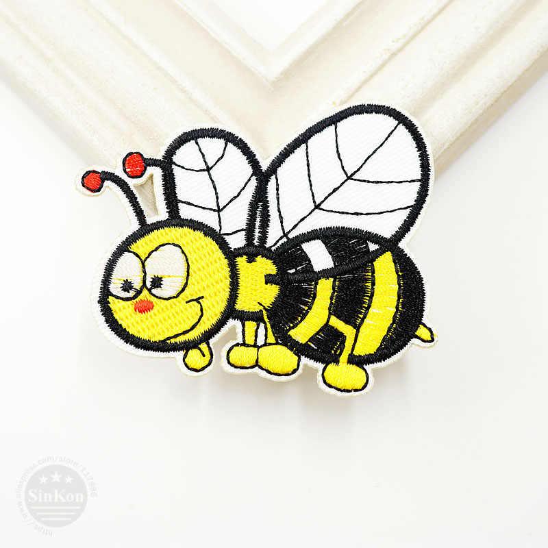 Bee (Ukuran: 6.2x7.0 cm) DIY Memperbaiki Menghias Kain Lencana Patch Jins Tas Pakaian Pakaian Jahit dekorasi Applique Patch Badge