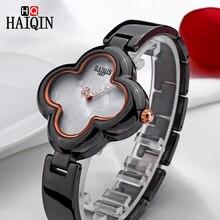 HAIQIN новый для женщин часы женский четырехлистный клевер форма Браслет аналоговые кварцевые часы керамические наручные часы водонепроница
