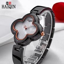 HAIQIN New Women's Watches Female Four Leaf Clover Shape Bracelet Analog Watch Quartz Ceramic Wristwatch Waterproof Clock Women