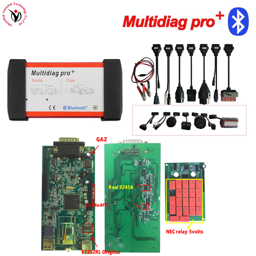 2018 new 2016R0 ! V3.0 Board Multidiag Pro+ Full 8 Car Cables VD TCS CDP PRO OBD2 Bluetooth Auto Scan truck diagnosis equipment