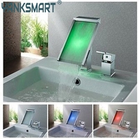 YANKSMART LED Light Waterfall Bathtub Chrome Basin Faucet Water Tap Sink Mixer Vanity Vessel Sink Mixers Tap Bathroom Faucet