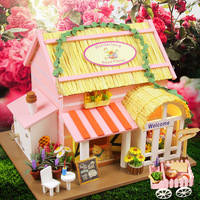 NEW Handmade Miniature DIY Puzzle Toy Doll House Model Wooden Furniture Building Blocks Toys Birthday Gifts Pink Flower House