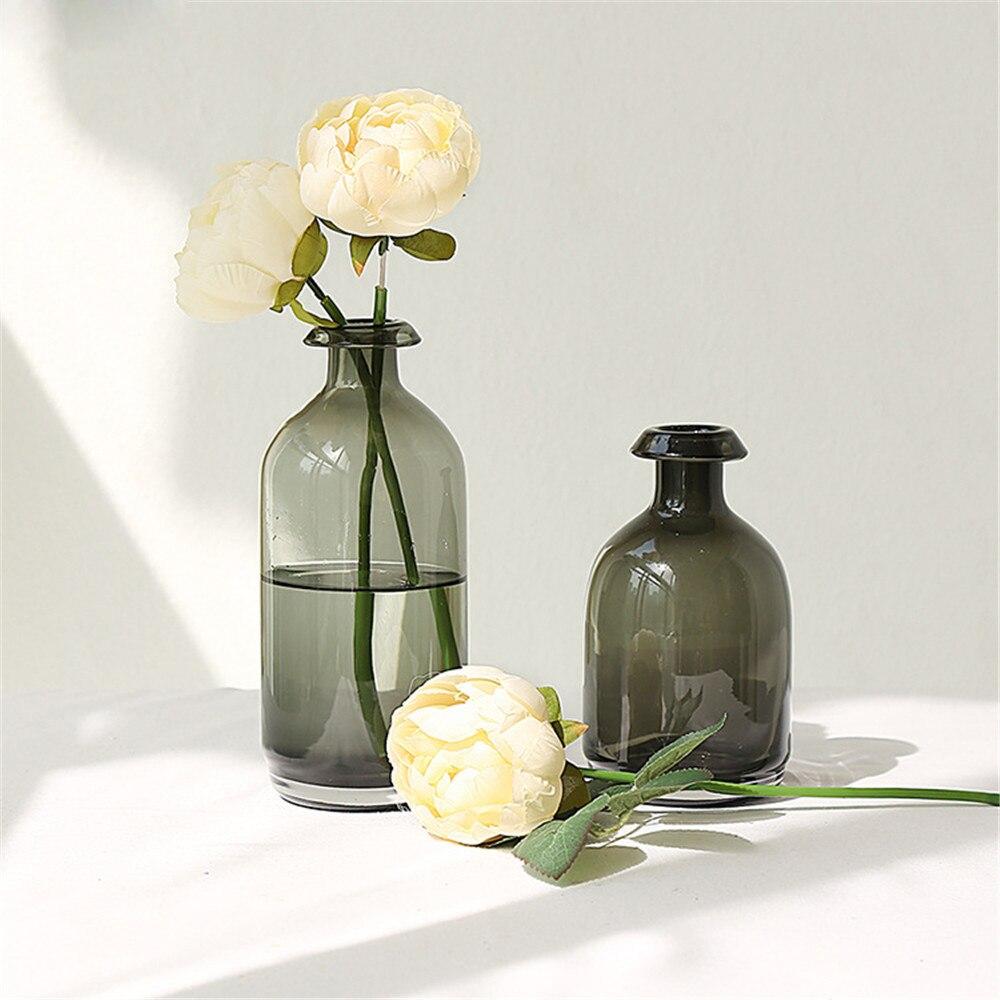 Minimaliste Chic européen verre gris stockage pot bouteille scandinave nordique bureau rangement bouteille organisateur fleur conteneur décor