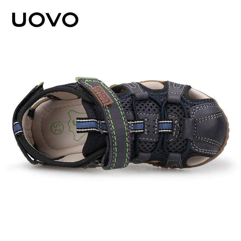 Uovo Kids Suede Leather Sandals Classical Closed Toe Beach Shoes Size 25 36 Soft Goat skin Summer Footwear Moccasins Shoes-in Sandals from Mother & Kids    2
