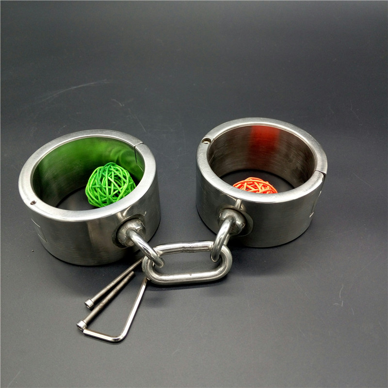 stainless steel heavy type handcuffs bdsm fetish slave bondage wrist restraints metal hand cuffs torture adult sex toys products