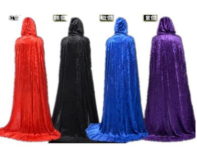 New Arrival Hot Festival Hooded Cloak Cosplay Velvets Gothic Cape Wicca Robe Vampire Costume