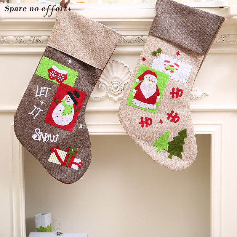 Lovely Christmas Decorations for Home Christmas Stocking Holder Santa Claus Snowman Gift Candy Sack Bags Xmas Decor Sock Holder