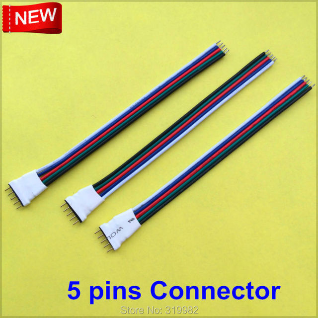 20pcs/lot LED Strip 5pin Connector Cable Wire 12cm 5 pins Male RGB ...