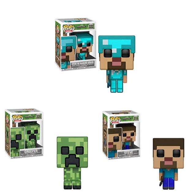 Funko POP Minecraft CREEPER-, STEVE, STEVE EM DIAMANTE ARMADURA Action Figure brinquedos do Menino para crianças Presente de Natal