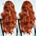 Heat Resistant Wig Orange Ombre Long Wavy Synthetic Lace Front Wig Glueless With Baby Hair High Quality For Fashion Women