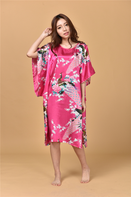 Merry Pretty NEW Summer Style Chinese Women's Silk Rayon Robe Kimono Bath Gown Nightgown Plus Size Bridal Floral Print Robes